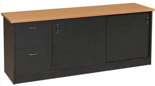 Carletti Sliding Door Credenza with 2 File Drawers
