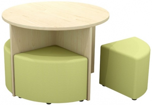 Quattro Round Meeting Table and Ottoman Set