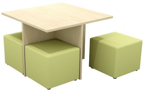 Quattro Square Meeting Table and Ottoman Set