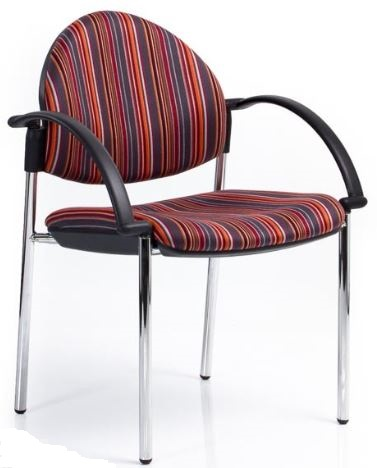 Bologne Curved Back Chair - Chrome 4 Leg, with Arms