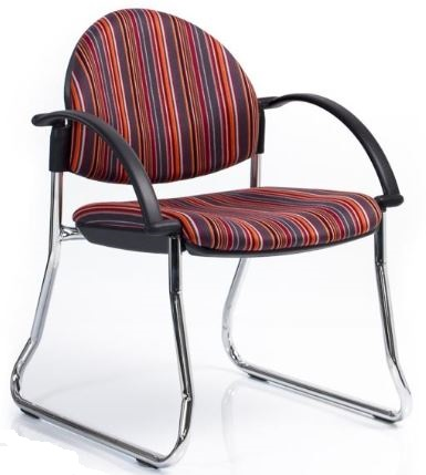 Bologne Curved Back Chair - Chrome Sled Frame, with Arms