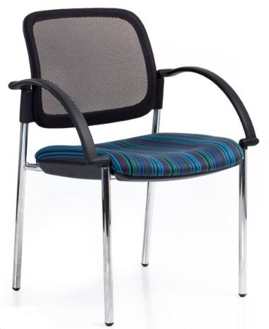 Bologne Mesh Back Chair - Chrome 4 Leg Frame, with Arms