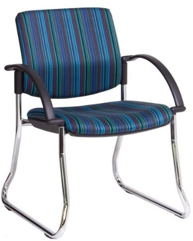 Bologne Square Back Chair - Chrome Sled Frame, with Arms