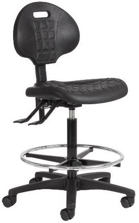 Industrial Drafting Chair with Chrome Foot Ring