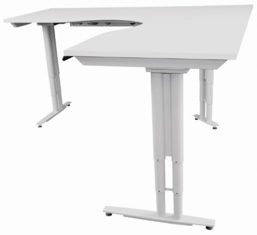 Lift Height Adjustable Sit-Stand Corner Workstation