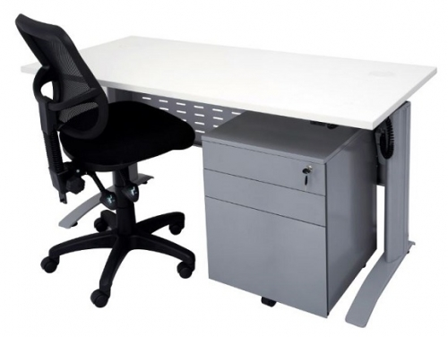 Modena Sit Stand Electronic Height Adjustable Desk, Chair and Mobile Package. Image 2