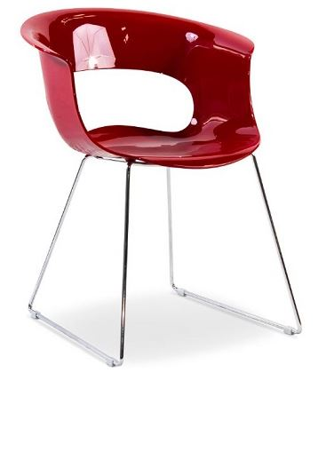 Dino Chair with Sled Frame - Red Gloss
