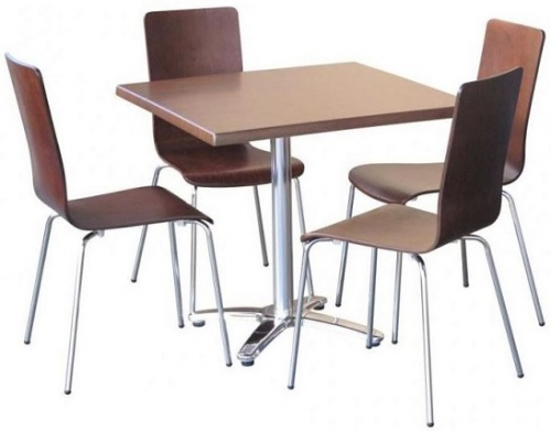 Image of Nikki Chairs in Walnut Stain with Villa Table Base