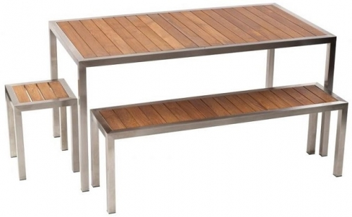 Messina Outdoor Table and Bench Setting