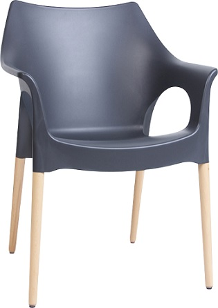 Mila Chair - Anthracite with Beech Timber Legs