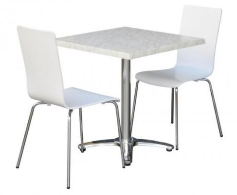 White Nikki Chairs with Villa Table Base