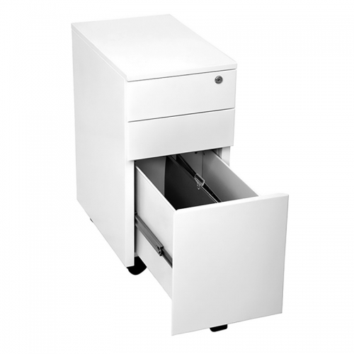 Alessi Heavy Duty Narrow Metal Mobile Drawer Unit, Open