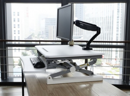 Rize Height Adjustable Desk Top Stand - White