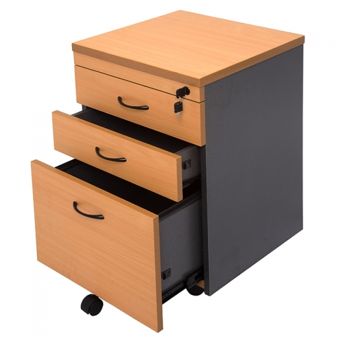 Beech Ironstone Mobile Drawer Unit, Open