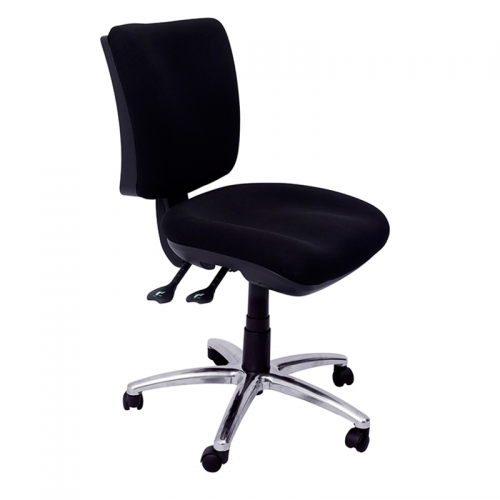 Groove Medium Back Chair, Black Fabric, Polished Alloy Base