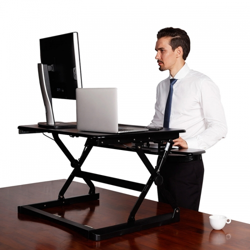 Rize Height Adjustable Desk Top Stand, Black