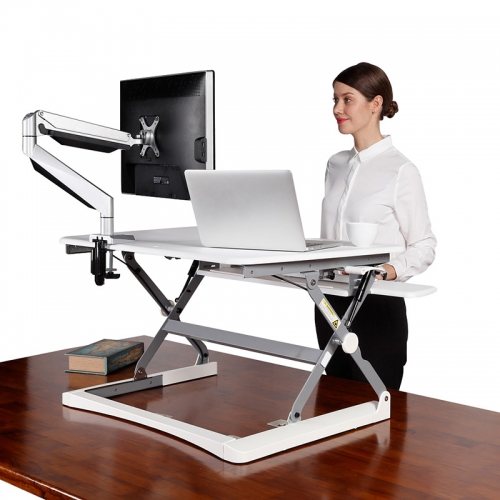Rize Height Adjustable Desk Top Stand, White