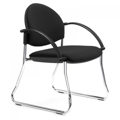 Bologne Curved Back, Chrome Sled Frame with Arms