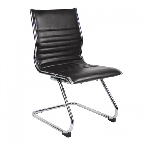 City Visitor Chair, Black Leather