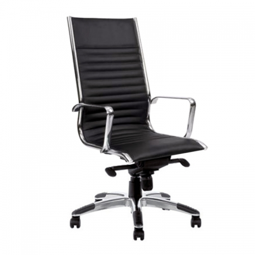 Kelsy High Back Chair, Black Leather