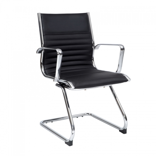 Kelsy Visitor Chair, Black Leather