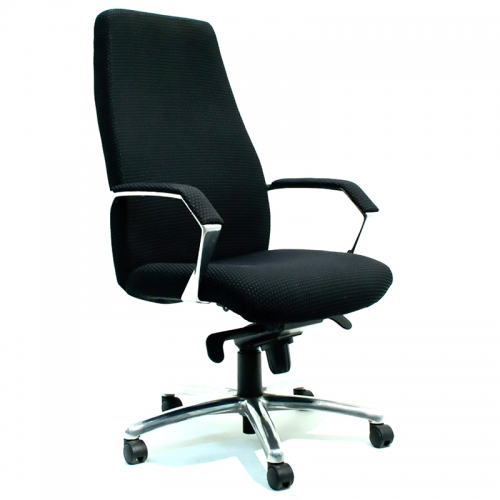 Madrid High Back Fabric Chair, Polished Alloy Arms and Base