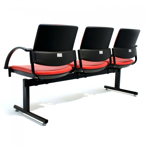Bologne Square Back 3 Seater Beam with Arms, Rear View