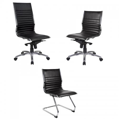 City Medium Back Chair, Black Leather