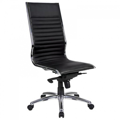 City High Back Chair, Black Leather
