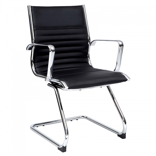 Kelsey Visitor Chair, Black Leather