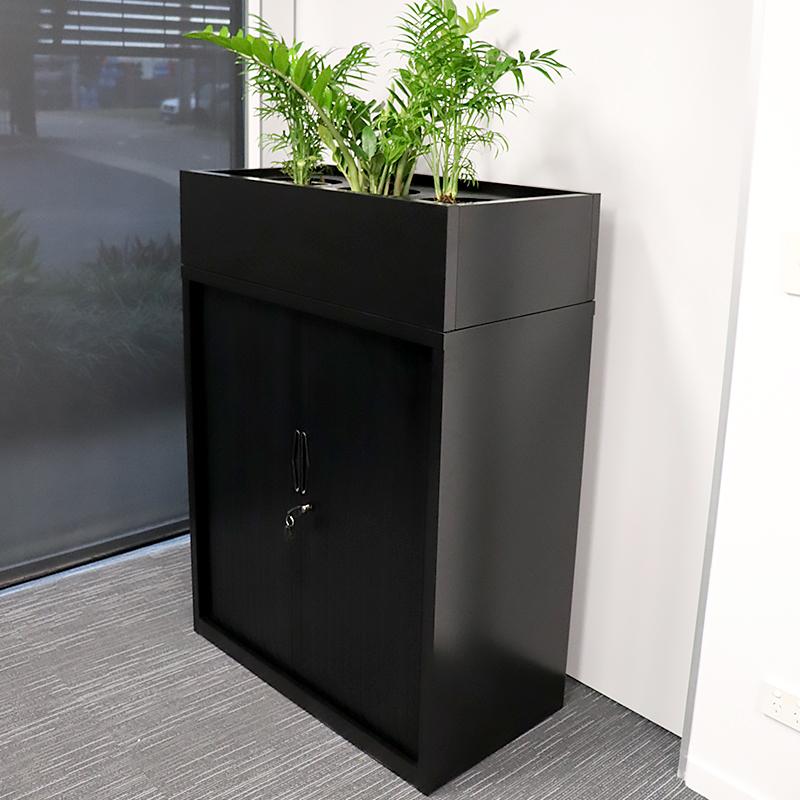 Alessi Heavy Duty Tambour Door Storage Cabinet Black Ikcon