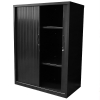 Alessi Heavy Duty Tambour Door Storage Cabinet, Black