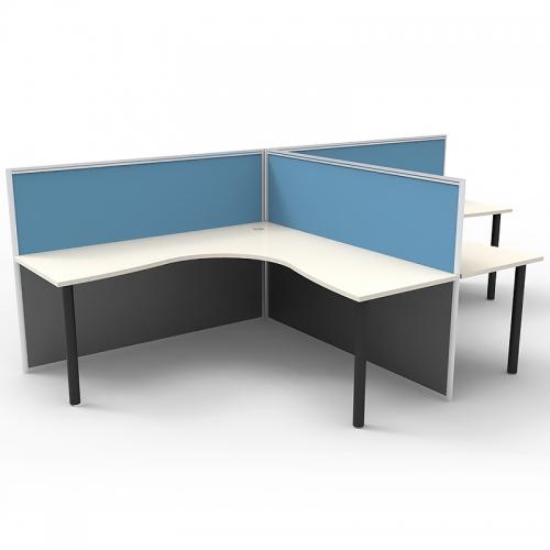 Media 2 Back to Back Corner Workstation Desk System, No End Screens