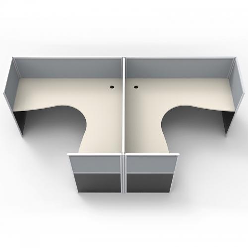 Media 2 Back to Back Corner Workstation Desk System