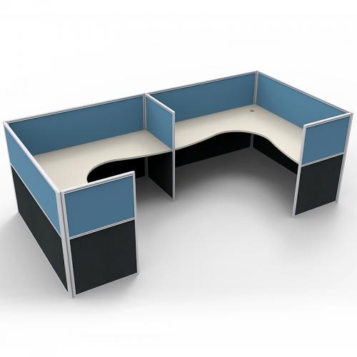 Media 2 Corner Workstation Desk System