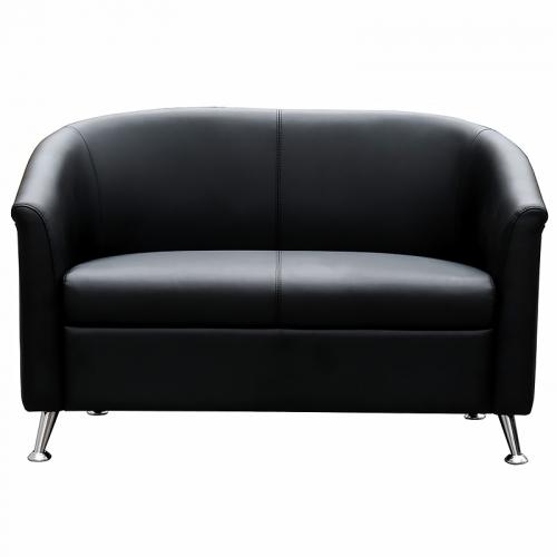 Beta 2 Seater Lounge, Black Man-Made Leather