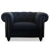 Chesterfield Lounge Range, Black Linen Fabric
