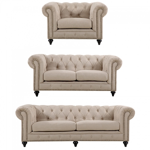 Chesterfield Lounge Range, Natural Linen Fabric