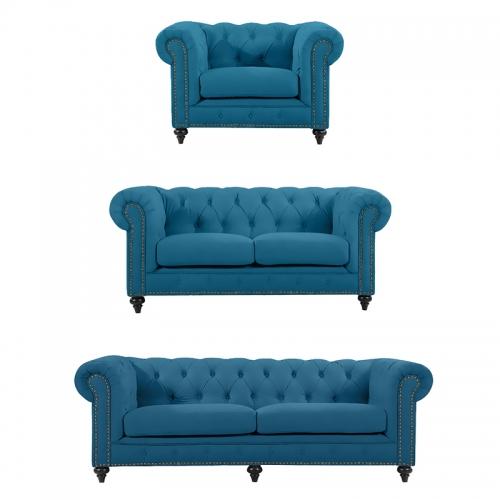 Chesterfield Lounge Range, Turquoise Velvet